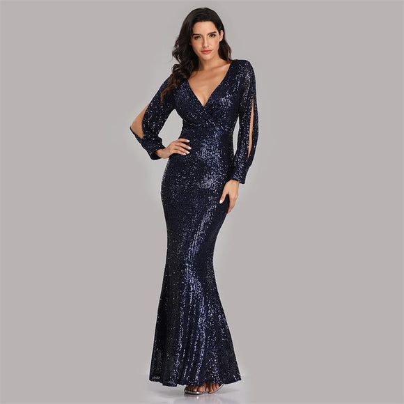 Navy blue Sexy Sequined Slit Sleeve Mermaid Evening Dresses-Erina