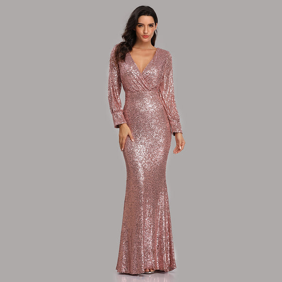 Sexy Sequined Slit Sleeve Mermaid Evening Dresses-Erina