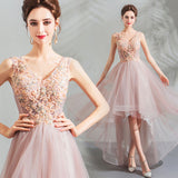 NZ Bridal Lovely Pink Embroidery V Neck Lace Appliques Beaded High Low Asymmetrical Length Formal Party Dress