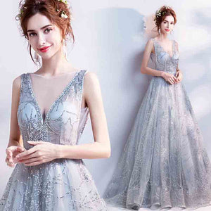 Luxury Starry Sequins Sheer V Cut Prom Gala Dress