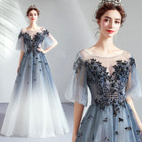 Blue Gradient Bell-sleeves Applique A-line Ball Gown