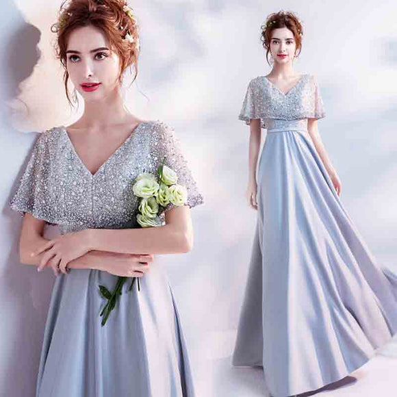 Fantastic Luxury Grey Heavy Beaded Wrap Formal Evening Dress