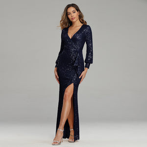 Sexy Sequined Slit Mermaid Evening Dresses-Rachel
