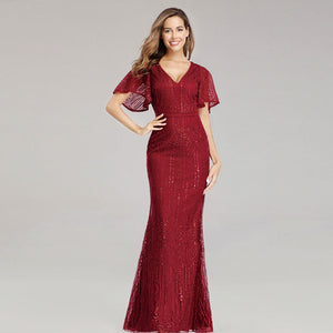 Sparkly Tulle Short Sleeved Formal Dress in Burgundy Wine