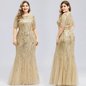 Champagne Gold Plus Size Flower Sequined Mermaid Evening Gown-Mabs