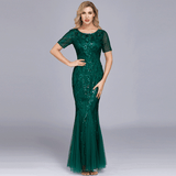 Dark GreenPlus Size Flower Sequined Lace Tulle Mermaid Evening Gown Bridesmaid Dress-Mabs