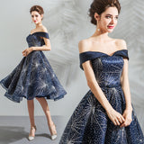 Starry Night Sparkling Sequined Pattern Flared Party Dress