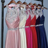 Hanging Neck Satin Beading Sleeveless Wedding Party Formal Dresses