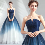 NZ Bridal Blue Gradient Skirt Strapless Light Yarn Dress Party Performance Wedding Evening Ceremony Pleated Skirt
