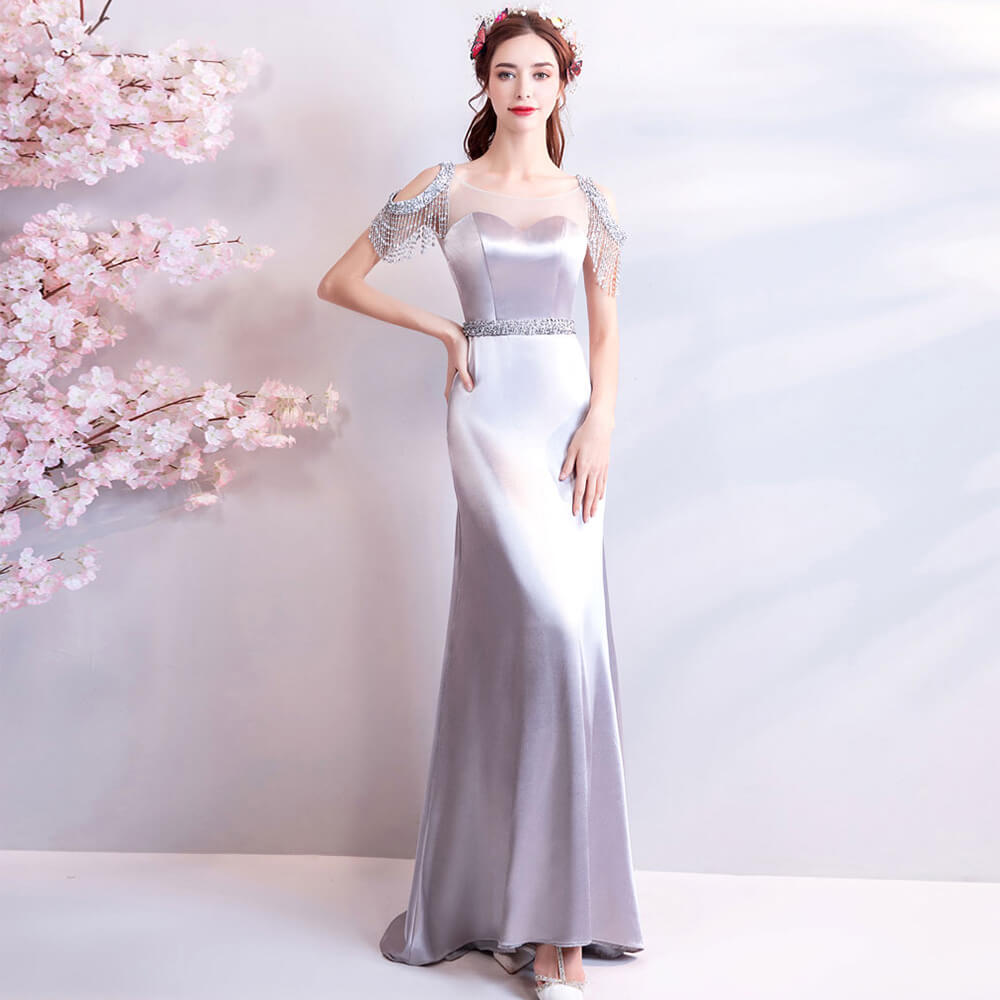 Luxury Silver Satin Beaded Tassels Cold Shoulder Formal Mother Dress