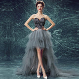 Feather High Low Bubble Skirt Prom Gown