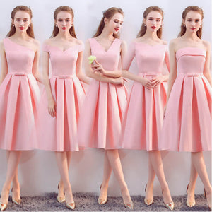 Pink Mix Match Noble Satin Flared A Line Short Bridesmaid Dresses