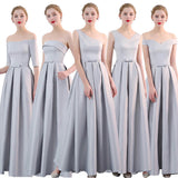 Mix Match Noble Satin Flared A Line Long Bridesmaid Dresses