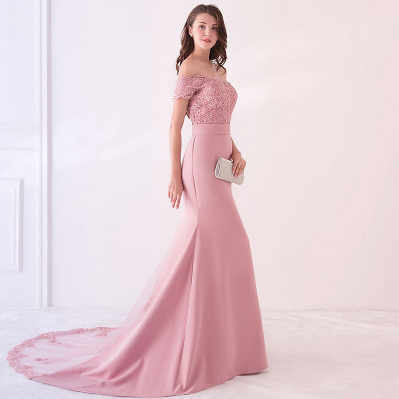 Dusty Rose Beaded Mermaid Bridesmaid Dresses Party Gowns