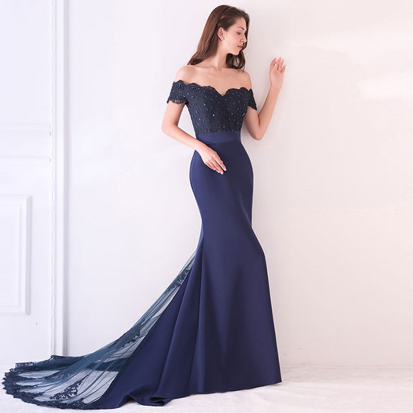 Navy Blue Beaded Mermaid Bridesmaid Dresses Party Gowns