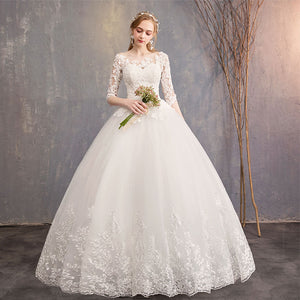 Lace Flower Sheer Sleeves Elegant Wedding Gown