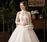 Vintage High Collar Lace Flower Wedding Gown