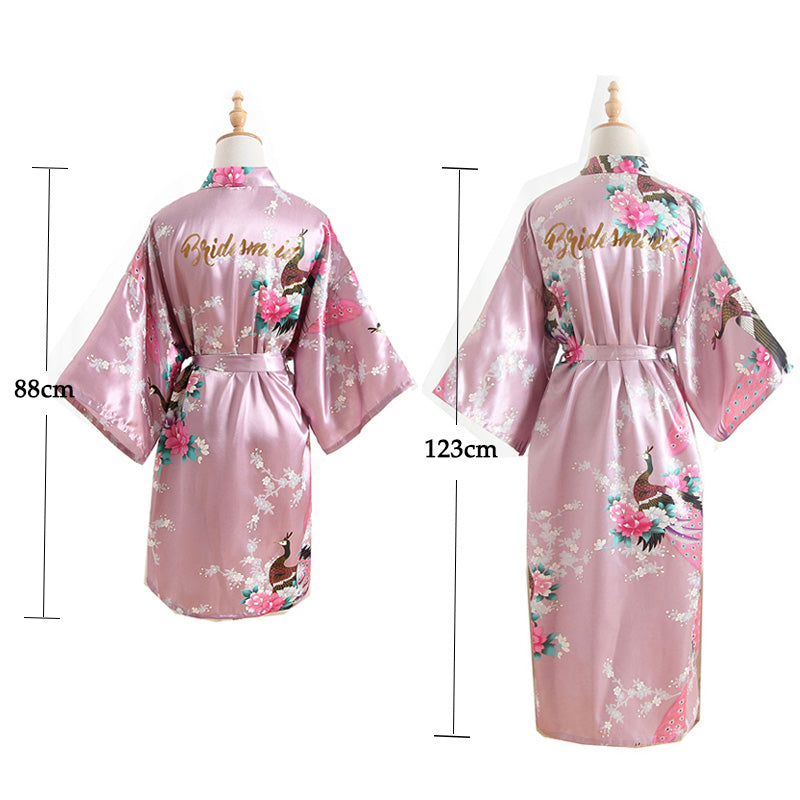 8e119bd31e1 ... Set of 2 More Floral Silk Bridal Party Robes Bridesmaid Robes 18 Colors  In