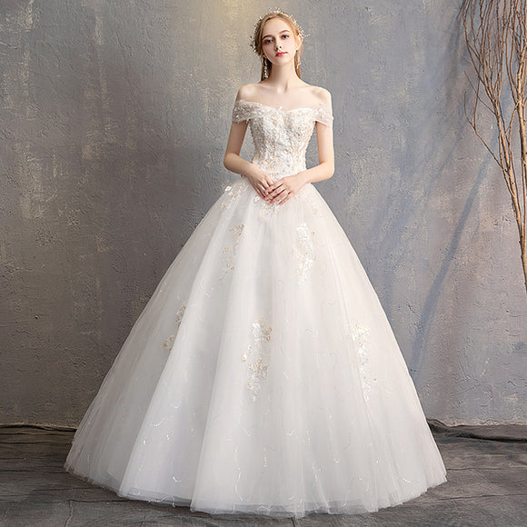 Lace Flower Sweetheart Sexy Bridal Wedding Gown