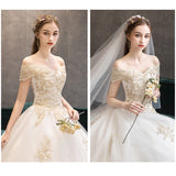 Champagne Lace Flower Sweetheart Sexy White Wedding Gown