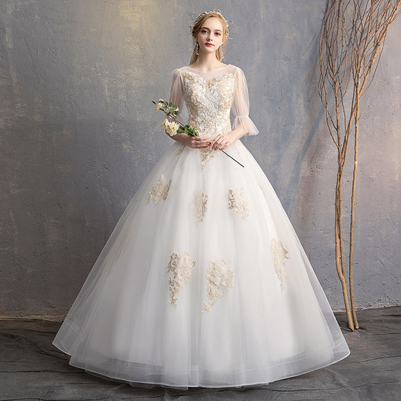 Lace Flower O Neck Sexy Wedding Gown