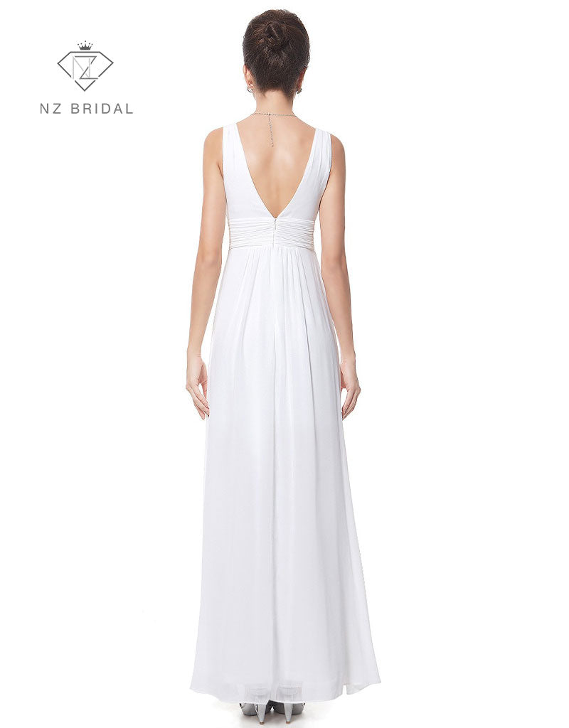 Deep V-neck Ruched Bust Bridal Reception Dress