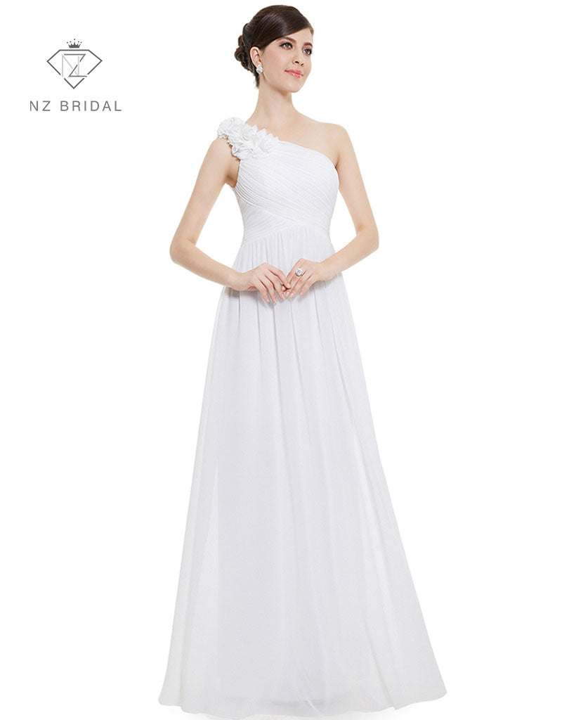 One Shoulder Floral Padded Simple Elegant NZ Bridal Dress