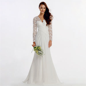 NZ Bridal Plus Size V-neckline Embroidery Lace Long Sleeve Faux Wrap Waist Wedding Gown
