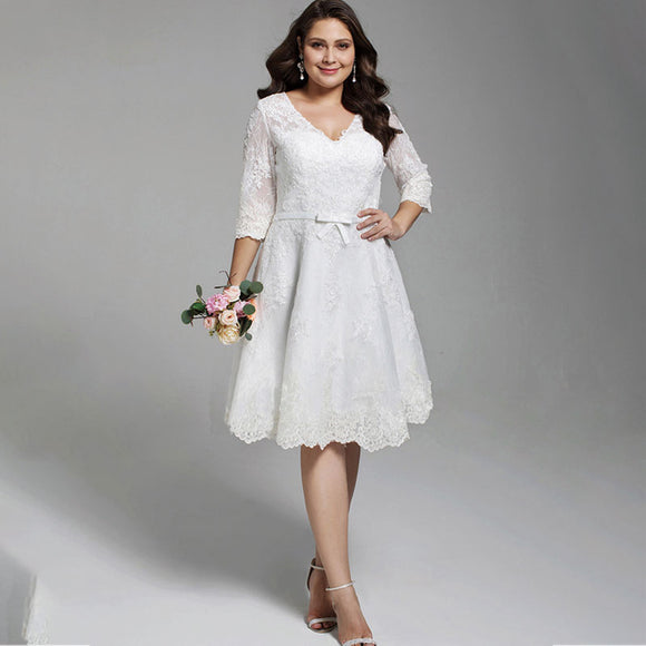 NZ Bridal Plus Size V-neckline Allover Lace Knee-length Wedding Short Dress Bridal Gown