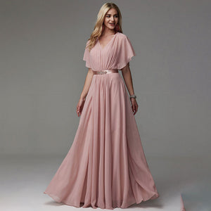 NZ Bridal Plus Size V-neckline Ruffle Sleeve Pleats Tulle A-line With Belt Bridesmaid Dresses