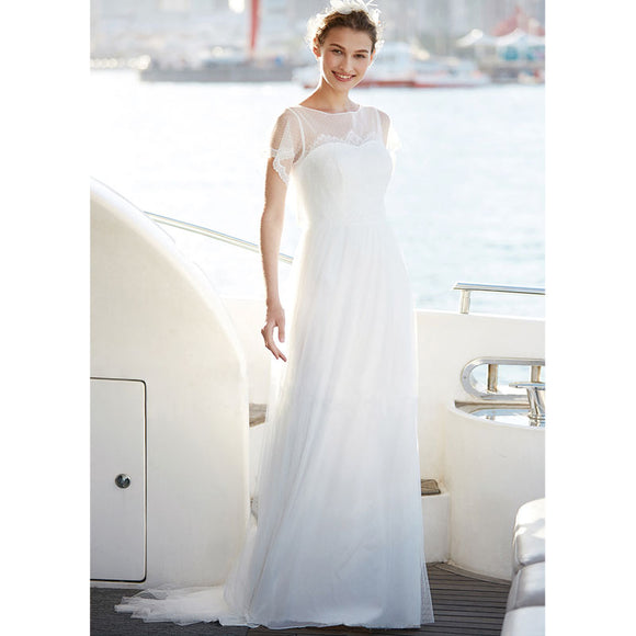 NZ Bridal Plus Size Illusion and Tulle Bodice Short Sleeve Mesh Long Wedding Dress Bridesmaid Dresses