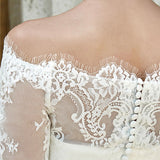 NZ Bridal Plus Size Off The Shoulder Long Sleeve High-Low Knee-Length Lace Wedding Dress