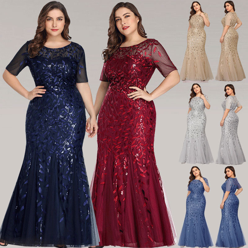Dusty Blue Plus Size Leaves Sequined Lace Tulle Mermaid Evening Dress