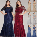 Champagne Gold Plus Size Leaves Sequined Lace Tulle Mermaid Evening Dress