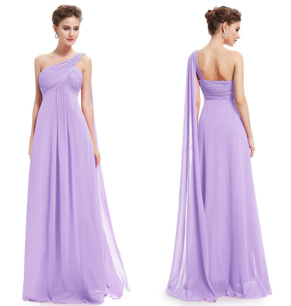 Lavender One Shoulder Ruffles Padded Special Occasion Weddings Events Long Maternity Evening Dress