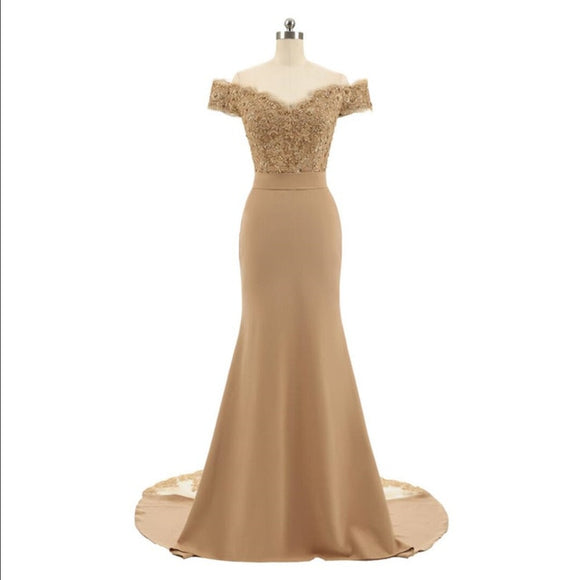 Golden Beaded Mermaid Bridesmaid Dresses Party Gowns
