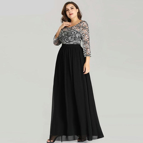 Lace Long Sleeve Chiffon Mother of the Bride Dress Winter Autumn Evening Gowns