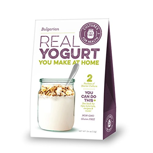Cultures for Health Bulgarian Yogurt Starter Culture, Organic, Non-GMO, Reusable Heirloom Variety, Probiotic Blend, Use In Any Yogurt Maker For Thick European Yogurt, Includes 2 Packets Of Starter