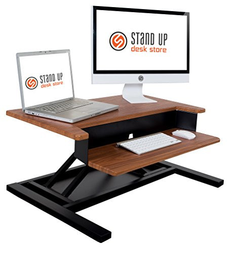 AirRise Pro – Standing Desk Converter | Adjustable Height Pneumatic Stand Up Desk – Sit to Stand with Your Current Desk in Seconds (2 Tier, Teak)