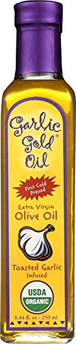Extra Virgin Olive Oil Infused with toasted Garlic 100% Certified Organic  by Garlic Gold, 250 ML (8.44 fl oz)
