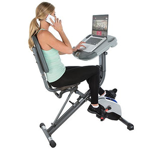Fully Adjustable Desk Folding Exercise Bike with Pulse
