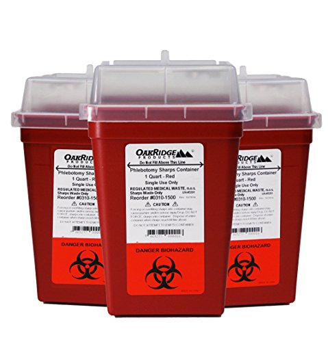 Sharps Disposal Container - 1 Quart Size (Pack of 3)