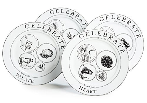 Celebrate Portion Control Dinner Plates, Set of 4
