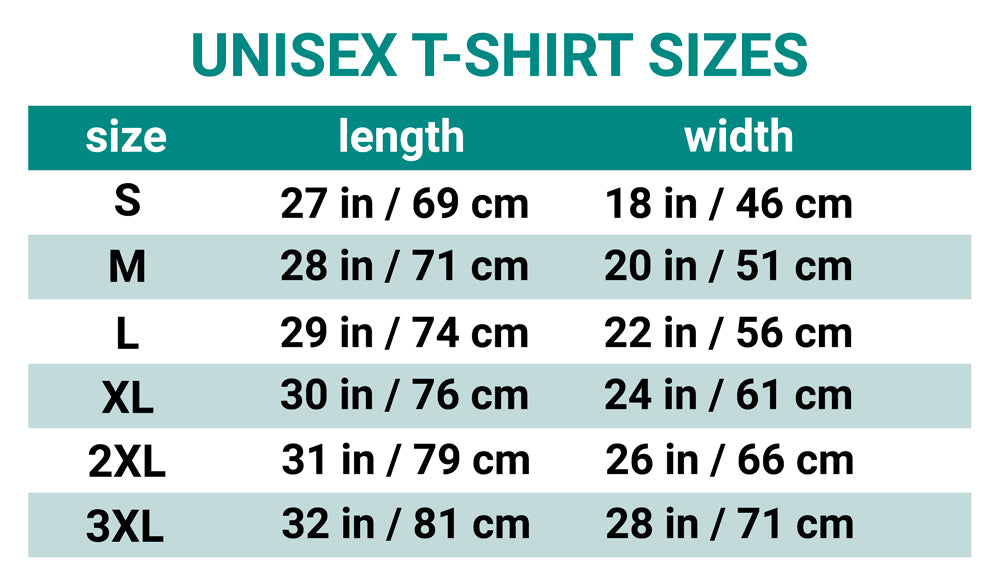 Size Chart for Wildlife Conservation T-shirts: Unisex Sizing