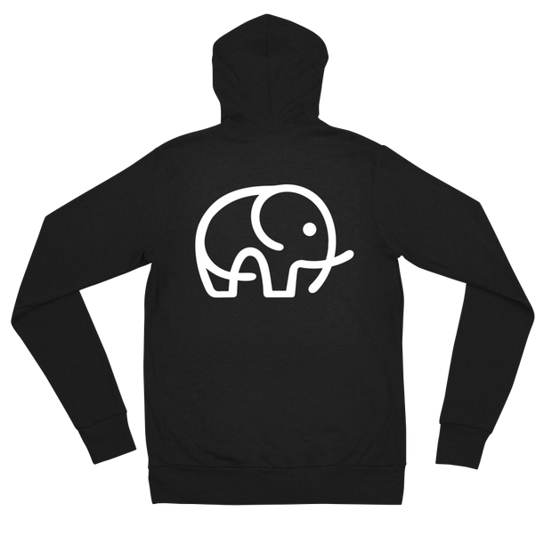 Lightweight Elephant Zip Hoodie Black – World With Wildlife