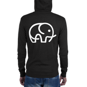 Lightweight Elephant Zip Hoodie Black Back – World With Wildlife