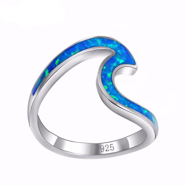 Blue Ocean Wave Ring of 925 Sterling Silver – World With Wildflife