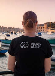 World With Wildlife Logo T-Shirt Black Back Side – World With Wildlife