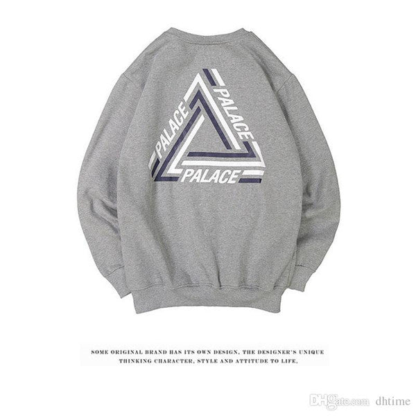 2017SS PALACE TRI-CRIB CREW COLORED TRIANGLE LOGO Round Collar Skateboards Hoodies Men Women Hip Hop Sweatshirt White Hombre