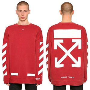 2018 OFF WHITE Casual Unisex pullover stripe offset print hoodies Men's Women's Sweatshirts New Design Vision religion painting VIRGIL ABLOH